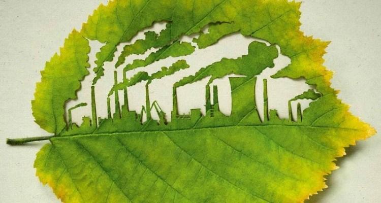 Ілюстрація до теми поганого довкілля листок дерева, на якому вирізані силуети труб, що димлять