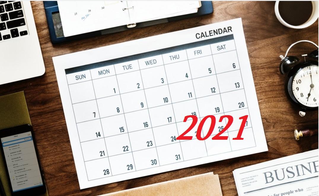 Календар державних свят та офіційних вихідних на 2021 рік