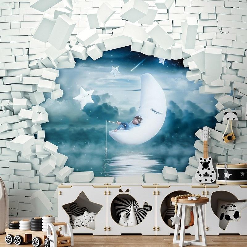 Різні варіанти пролому цегляної стіни, крізь яку видно улюблений герой дитини